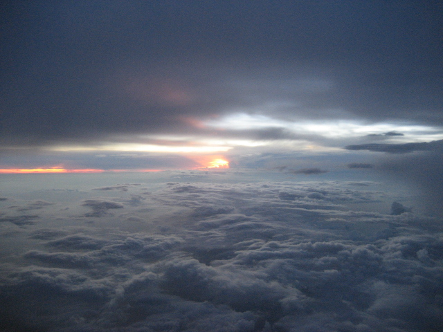 Sunset view from the airplane window
