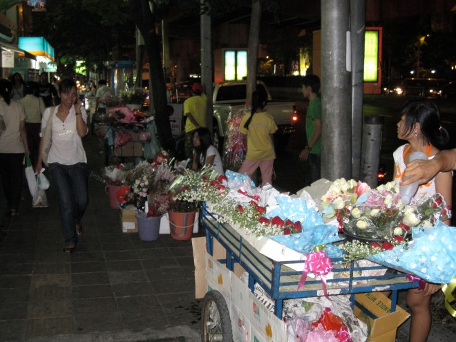 Valentine's Day flower stalls on Rama 4 Road